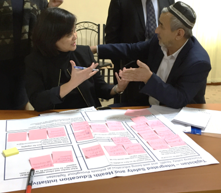Working groups during the Tajikistan - Integrated Safety and Health Education initiative kick-off event
